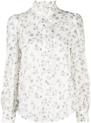 See by Chloe Floral-Print Ruffled-Collar Shirt
