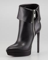 Saint Laurent Leather Zip-Cuff Platform Bootie