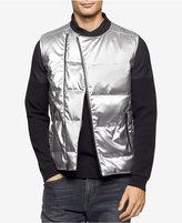 Calvin Klein Men's Quilted Silver-Tone Vest