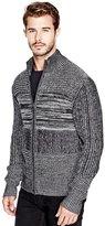 GUESS Men's Marled Zip Sweater