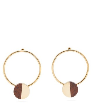 Jil Sander Gold-plated Brass And Stone Hoop Earrings - Brown