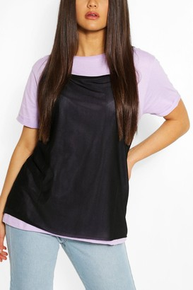 boohoo 2in1 Contrast Turn up Sleeve T-shirt