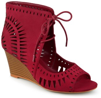 Journee Collection Zola Laser Cut Design Wedge Sandal