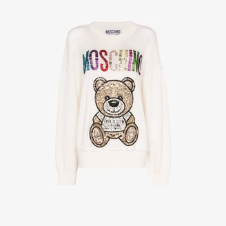 Moschino Womens White Embellished Teddy Bear Wool Sweater