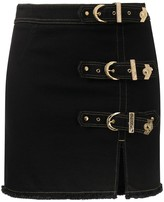 Versace Buckled Denim Mini Skirt