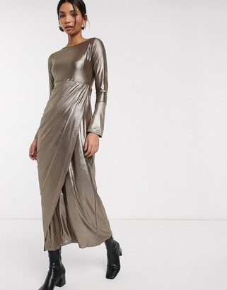 Verona maxi dress with drape wrap front in silver glitter