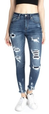 Kancan High Rise Pinstripe Patchwork Ankle Skinny