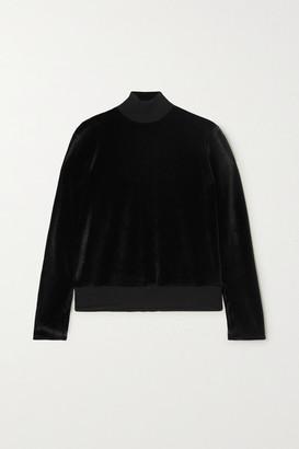 CALÉ Gabrielle Stretch-velour Sweatshirt - Black
