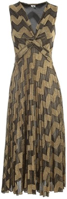 M Missoni Dress W/s V Neck W/knot Pleated Skirt