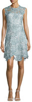 Catherine Deane Sleeveless Rosette Lace Cocktail Dress, Metallic Blue/Steel