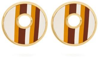 Marni Open Circle Leather Striped Earrings - Brown
