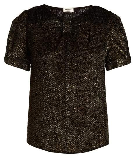 Masscob Short-sleeved round-neck patterned velvet top