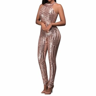 AOGOTO Women Sequin Off Shoulder Rompers O-Neck Jumpsuit Sleeveless Slim Playsuit Pink