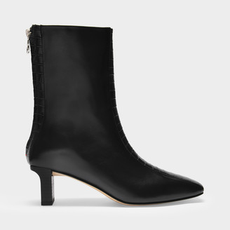 AEYDĒ Ankle Boots Molly In Black Croc Embossed And Smooth Leather