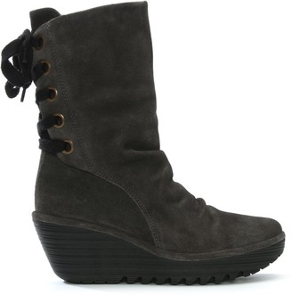 Fly London Yada Grey Suede Tie Back Wedge Calf Boots
