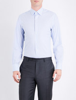 Canali Windowpane-check regular-fit cotton shirt