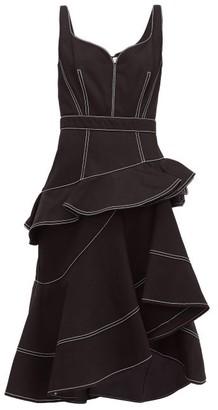 Alexander McQueen Asymmetric Topstitched Cotton-denim Dress - Black