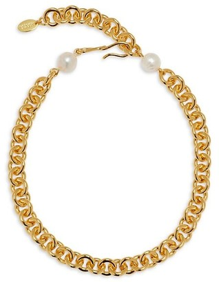 Lizzie Fortunato Halo 18K Goldplated & 12-13MM Pearl Chunky Chain Necklace