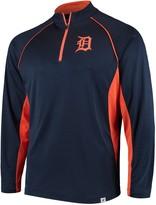 Men's Fanatics Branded Navy Detroit Tigers Windsor Long Sleeve Quarter-Zip Knit Wind Shirt Jacket