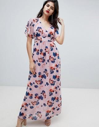 Soaked In Luxury Kimono Sleeve Maxi Dress-Multi