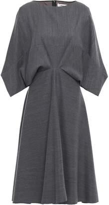 Chalayan Flared Draped Melange Wool-twill Dress