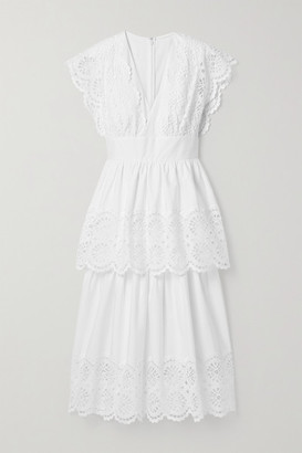 Lela Rose Tiered Broderie Anglaise Cotton-blend Poplin Midi Dress - White