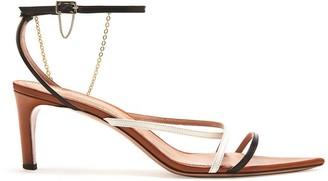 Oscar de la Renta Tricolor Asymmetric Sandals