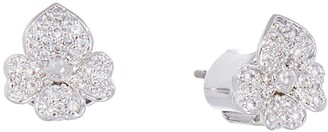 Kate Spade Precious Pansy Pave Stud Earrings (Clear/Silver) Earring