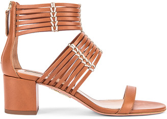 Aquazzura Ravello 50 Sandal in Safari & Soft Gold | FWRD