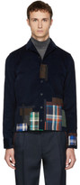 Kolor Navy Plaid Patchwork Shirt