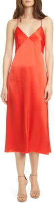 Alice + Olivia Loraine Seamed Satin Slipdress