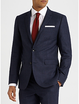 John Lewis Check Super 100s Wool Tailored Fit Suit Jacket, Navy