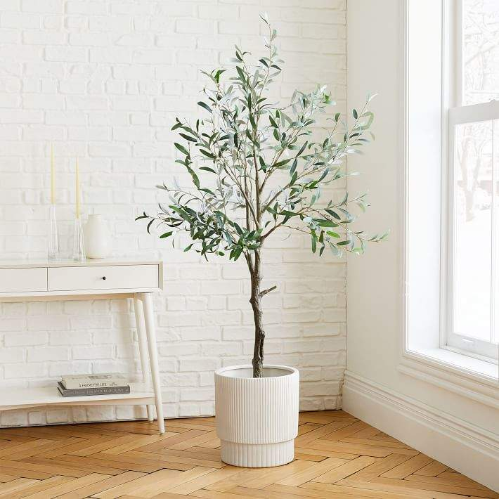 Faux Olive Tree & Large White Fluted Planter Set