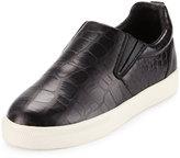 Ash Illico Crocodile-Embossed Skate Sneaker, Black