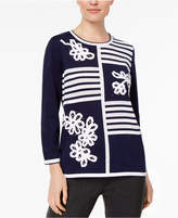 Alfred Dunner Montego Bay Petite Embellished Printed Sweater