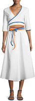 Rosie Assoulin Rainbow-Piped Wrap Dress, White