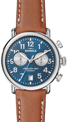 Shinola Men's 41mm Runwell Chronograph Watch, Midnight Blue/Tan