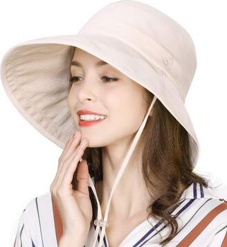 Comhats Rain Bucket Hat Women Wide Brim Water Resistant Waterproof Sun Hats Walking Hiking with Chin Cord Crushable Packable Adjustable Beige