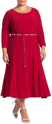 Nina Leonard 3/4 Sleeve Pearl Waist Dress