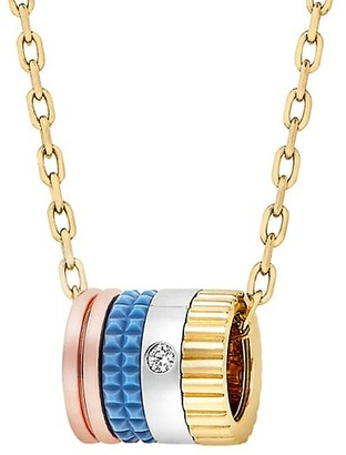 Boucheron Quatre Blue Edition 18K Tri-Tone Gold, Diamond & Blue Ceramic Mini Pendant Necklace