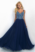 Blush Lingerie Beaded V-Neck Chiffon A-Line Dress 11058