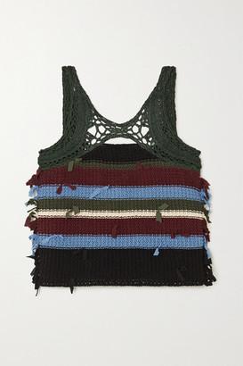 Salvatore Ferragamo Striped Cutout Crochet-knit Cotton And Silk-blend Tank - Dark green
