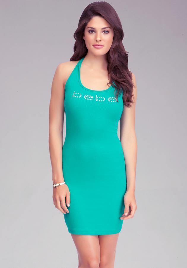 Bebe Logo Rib Halter Dress