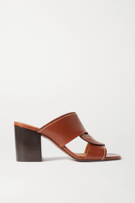 Chloé Candice Topstitched Leather Mules - Tan