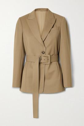 Brunello Cucinelli Belted Wool-blend Blazer - Camel