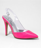 Express Neon Patent And Lucite Slingback Pump