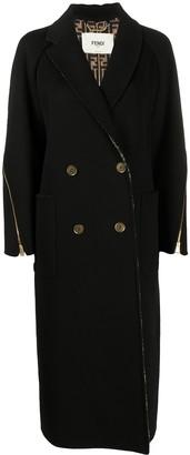 Fendi Zip-Embellished Double-Breasted Coat