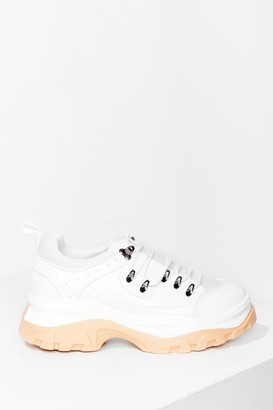 Nasty Gal Womens Just How We Hike It Faux Leather Chunky Sneakers - White