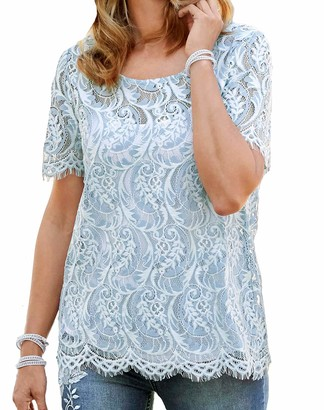 Topsanddresses Ladies Pale Blue and White Lace Top in UK Plus Sizes 32-36 EU 58-62 (Blue 12)