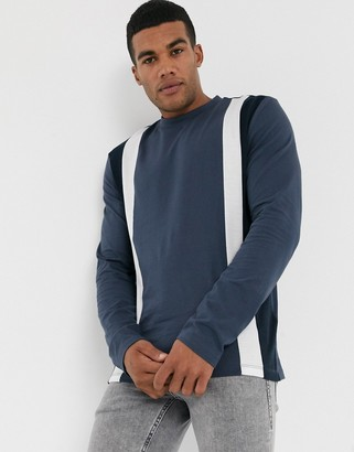 Asos DESIGN organic long sleeve t-shirt with vertical color block in navy